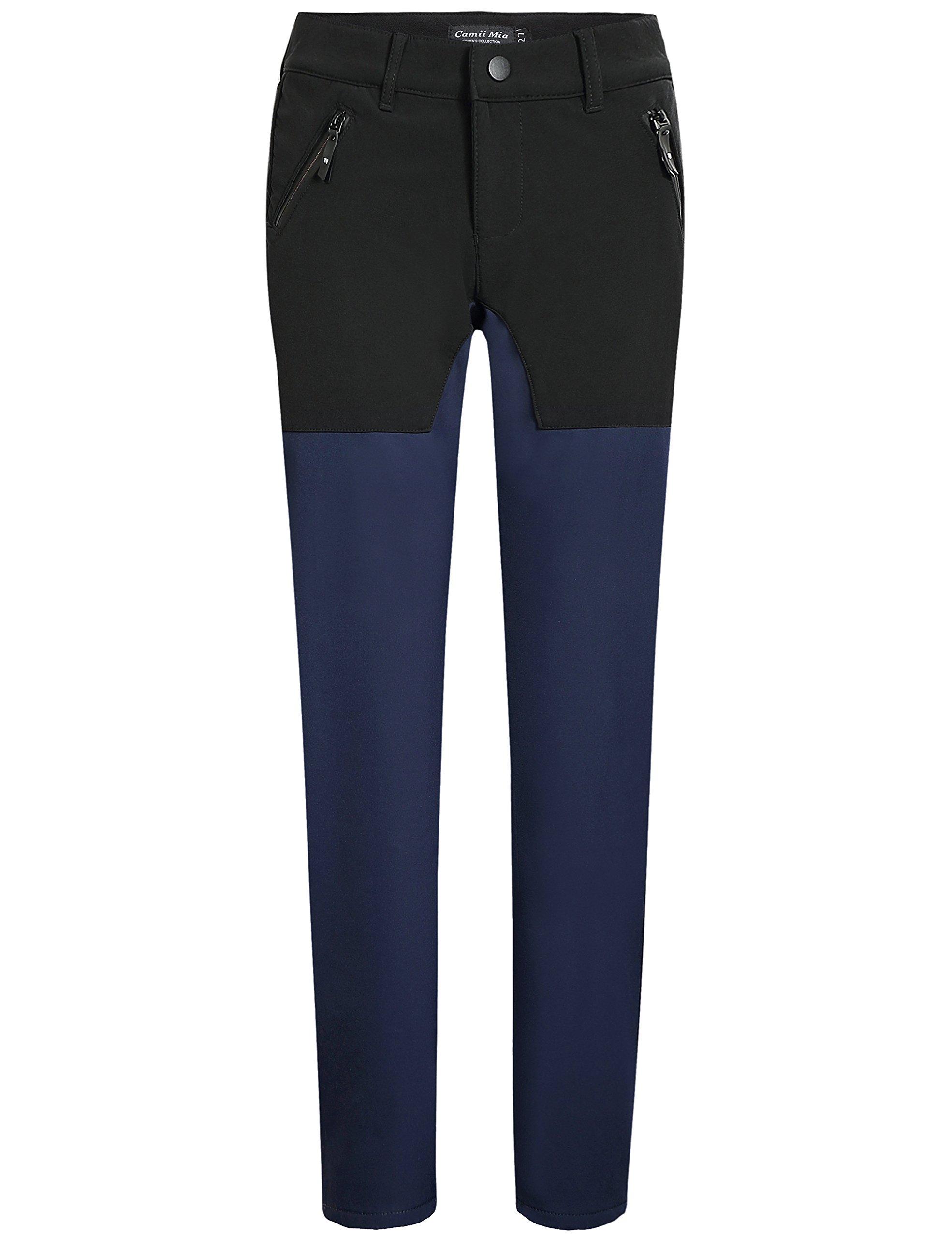 Camii Mia Women's Outdoor Sportswear Windproof Waterproof Fleece Hiking Pants (W27 x L32, Navy Black)