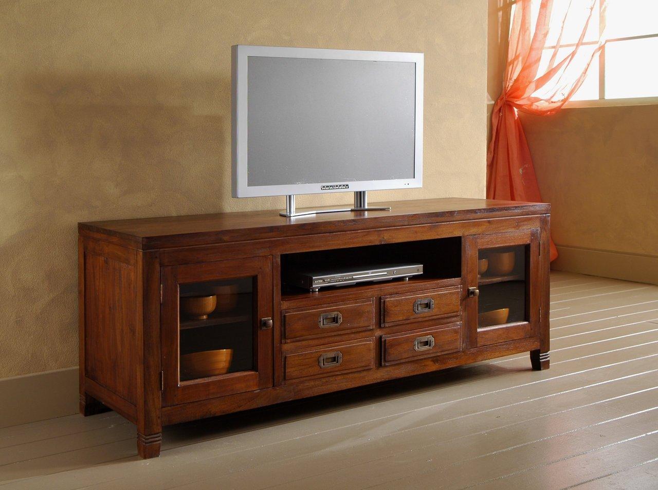 Mobile Porta-Tv stile etnico moderno in legno massello di Teak ...