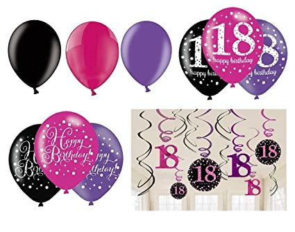 Amscan Completo Party Set 18 Cumpleaños Rosa Negro Plata + ...