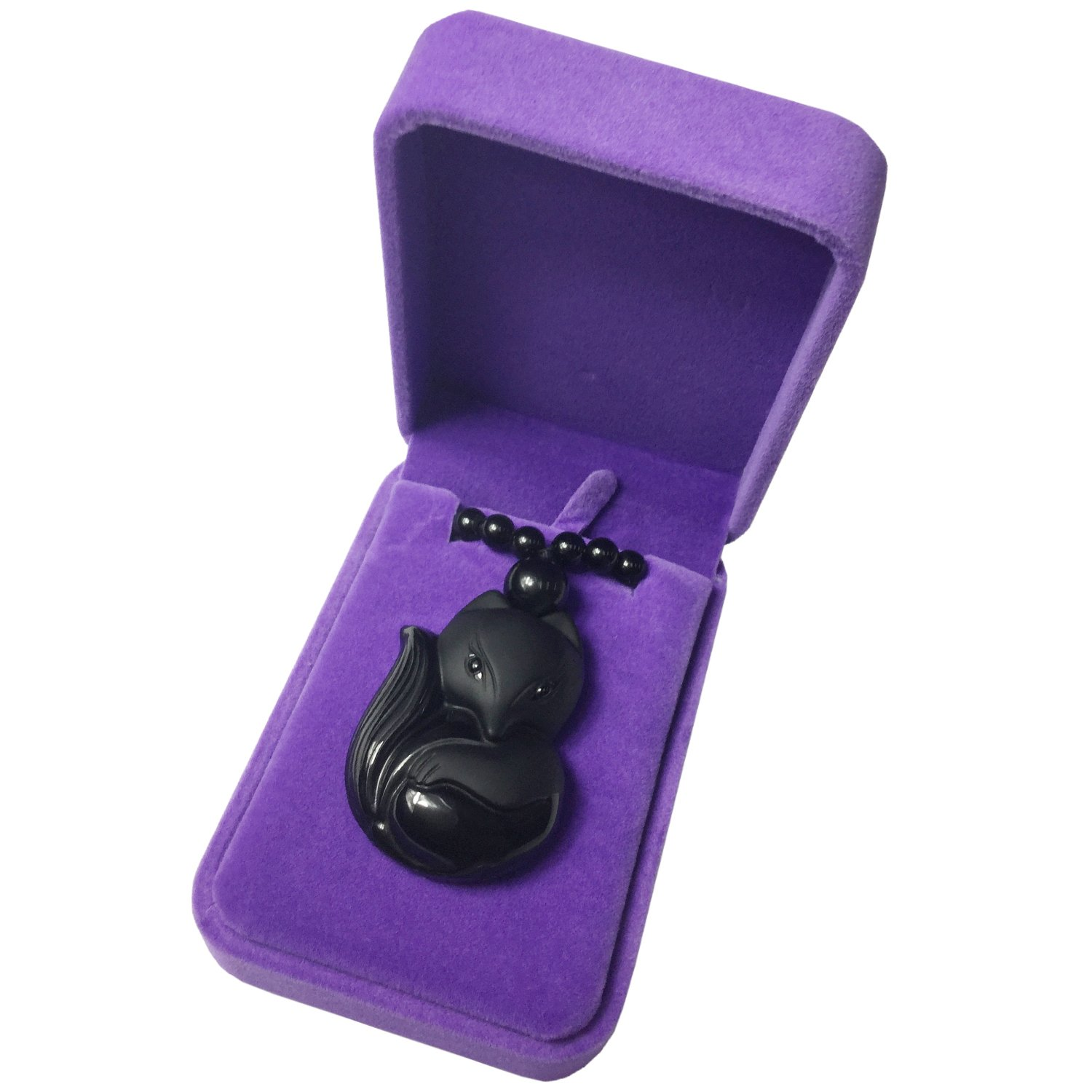 Black Obsidian Jewelry Pendant Amulet Gemstone Choker Smartphone Blackfox A2 Ten Android Lucky Fox Necklace For Women