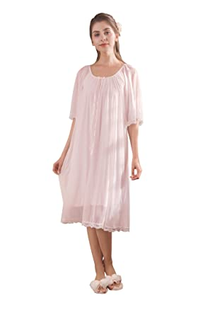 d0fd743f94 Soudoog Ladies Women s Short Sleeve Victorian Cotton Lace Satin Pink Nightdress  Pajamas Nightwear Sleepwear Size S
