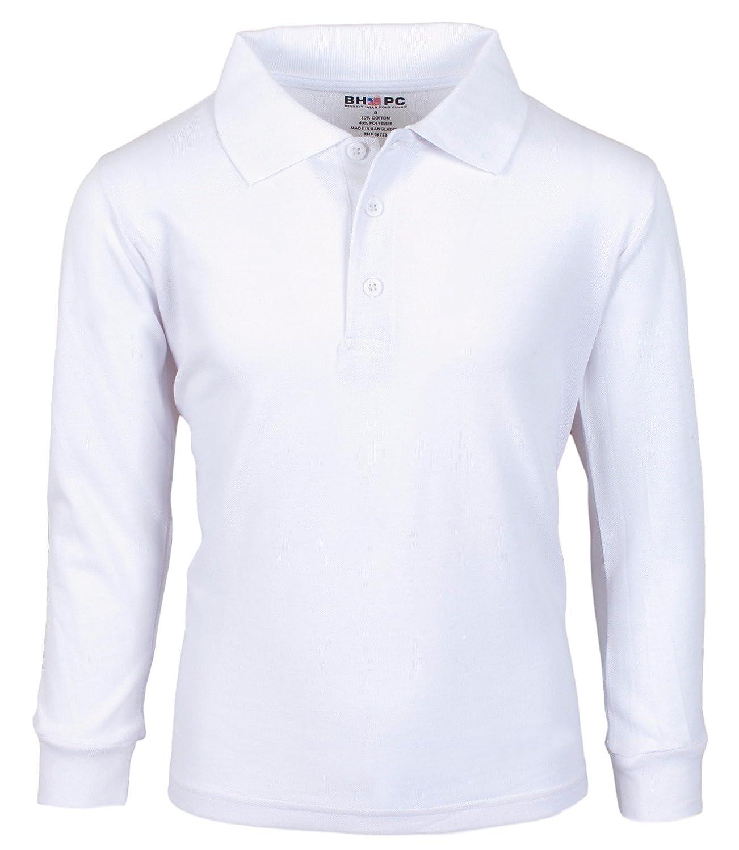 Beverly Hills Polo Club Pique Polo Uniform Long Sleeve Shirts Boys 3PK