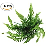 Fake Faux Artificial Boston Ferns Plants Greenery Bushes for Indoor Outside Home Garden Party Decor 4 Bunches 24 Leaves Per Bunch by ZXSWEET