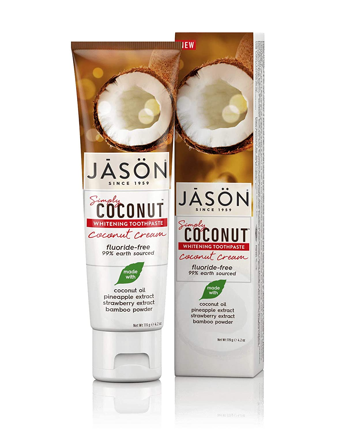 Jason Simply Coconut Whitening Toothpaste, Coconut Cream, 4.2 Ounce