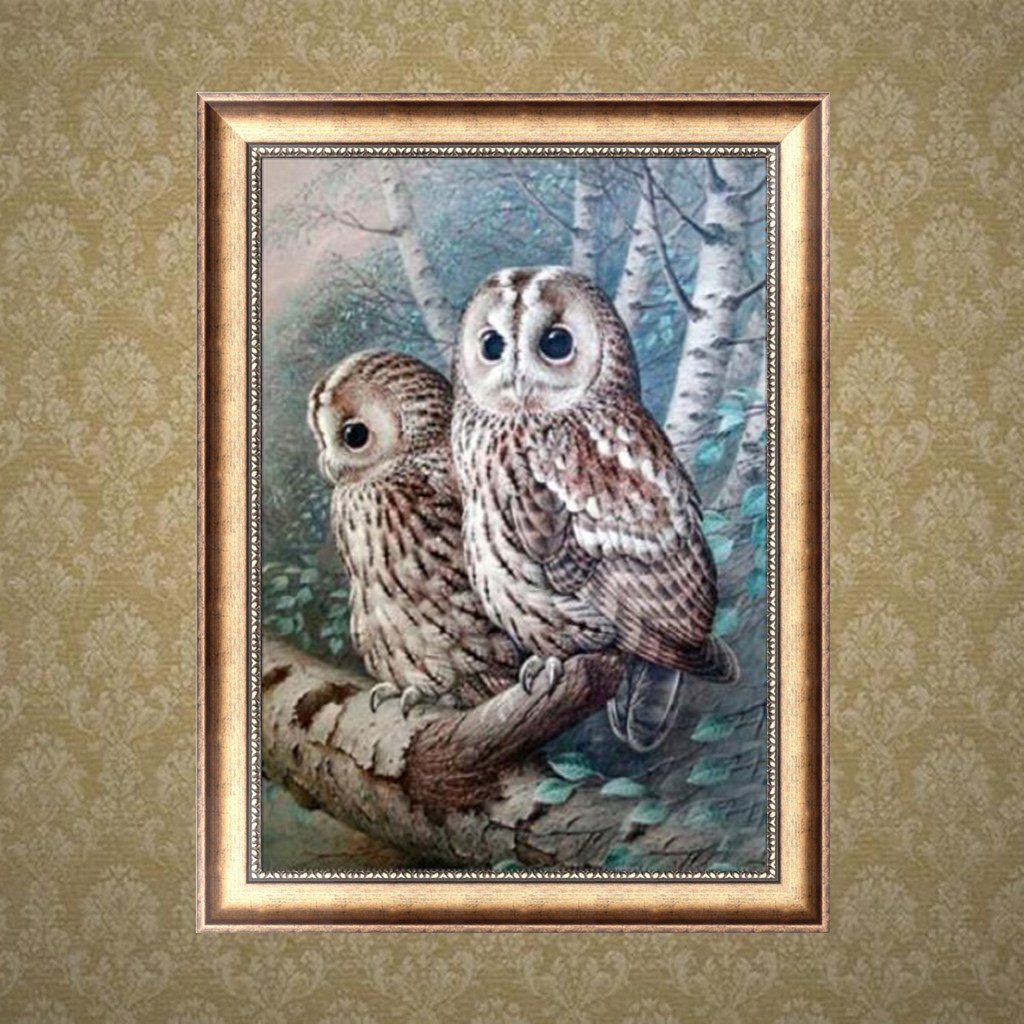 Horenme Full Drill DIY 5D Diamond Painting Owl Embroidery Cross Stitch Decor Art Craft