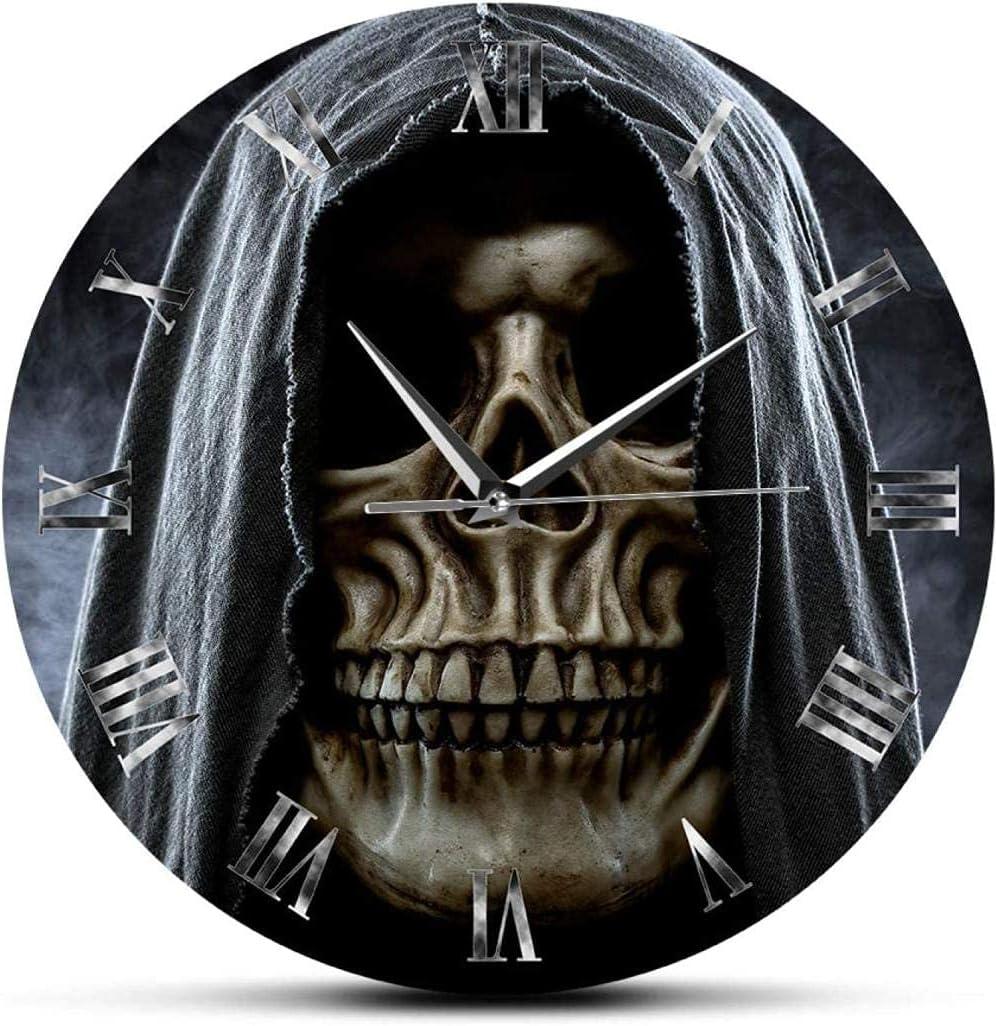 Indoor Wall Clock Grim Reaper Skull Skeleton Halloween Home Decor Wall Clock Death Evil Killer Grim Ghost Wall Art Silent Non-Ticking Wall Watch