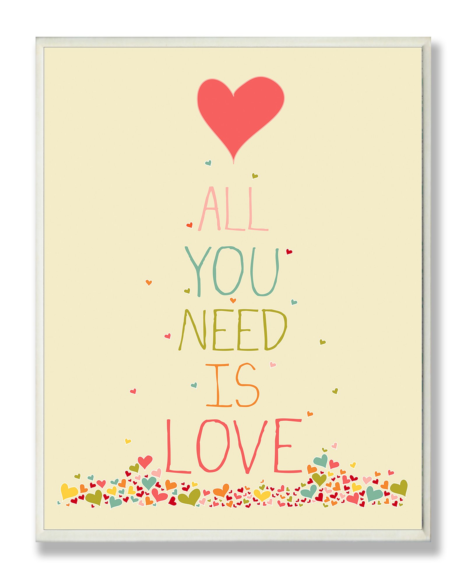 Stupell Home Décor All You Need Is Love Rectangle Wall Plaque, 11 x 0.5 x 15, Proudly Made in USA