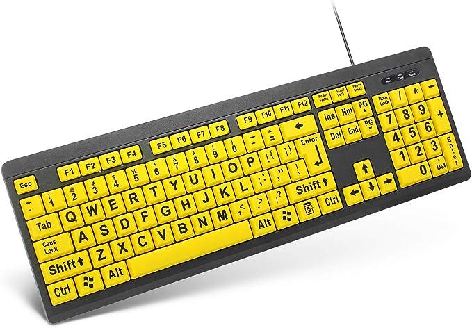 TANIX Teclado de impresión grande con cable USB teclado de ...