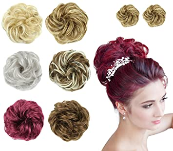 Amazon Com Hair Bun Extensions Wavy Curly Messy Donut Synthetic Chignons Hairpiece Easy Bun Hair Pieces For Women Hair Updos 2pcs 12 Ash Browm Beauty