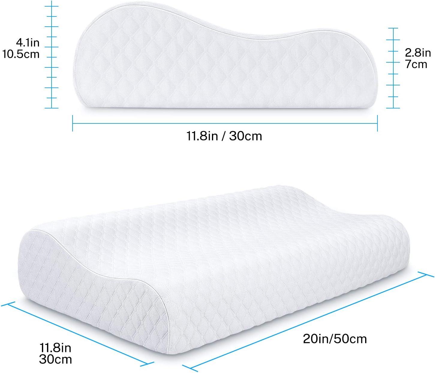 Almohada Viscoelastica Misiki Almohada Ortop/édica para Aliviar de Dolor del Cuello y Hombro Almohada Cervical Ergon/ómica Almohada para Dormir de Lado y de Espalda Funda de almohada lavable