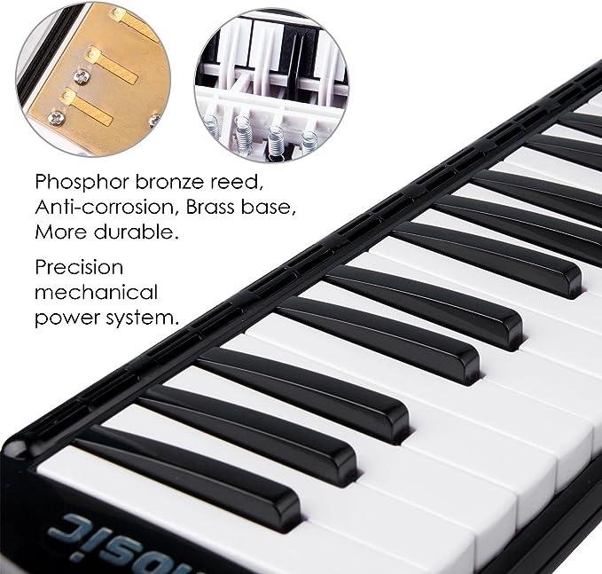 Amosic Melódica Teclado de 37 teclas estilo piano para regalo de música para niños, adecuado para la enseñanza y el juego, con 4 boquillas (2 Extend + ...