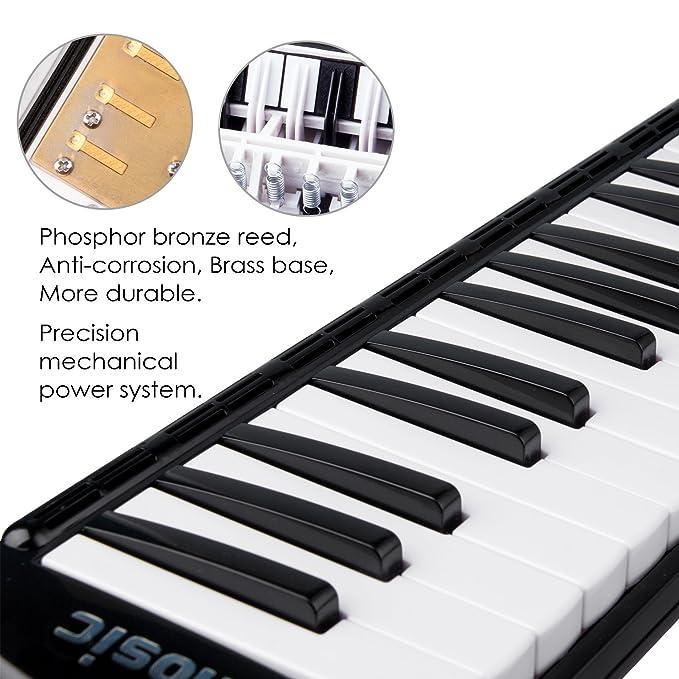 Amosic melódica Teclado de 37 teclas estilo piano para regalo de música para niños, adecuado para la enseñanza y el juego, con 4 boquillas (2 Extend + 2 ...
