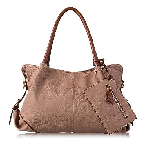 AB Earth 3 Pieces Women Hobo Handbag PU Leather Totes Matching Wallet Satchel Shoulder Bag