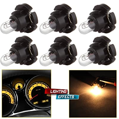 cciyu 6 Pack Warm White T4/T4.2 Neo Wedge Halogen A/C Climate Control Bulb Replacement fit for A/C Climate Control Light (black): Automotive