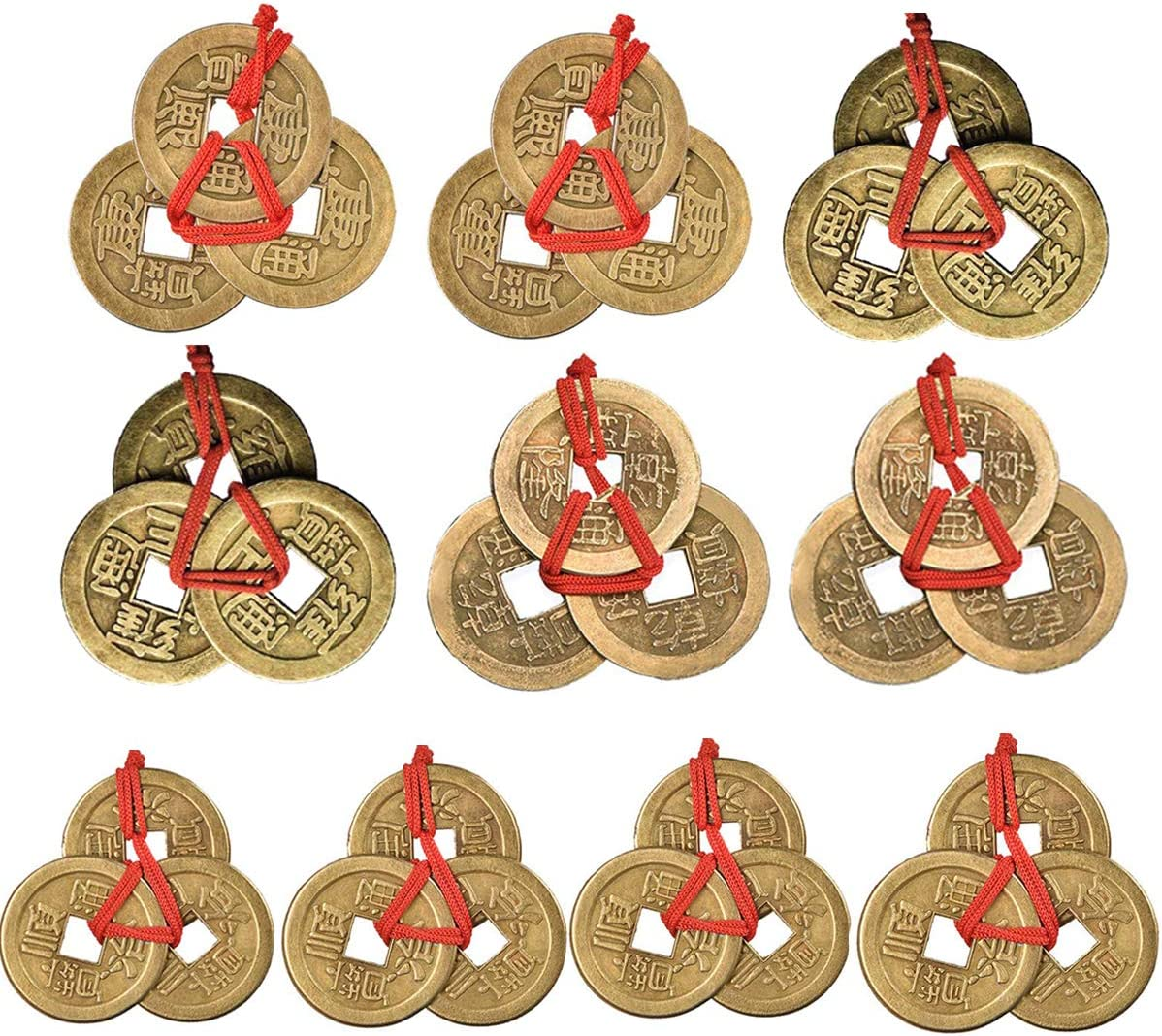 Dreamworth 10 Sets Chinese Fortune Coins Feng Shui Coins I-Ching Coins Traditional Coins with Red String for Wealth and Success