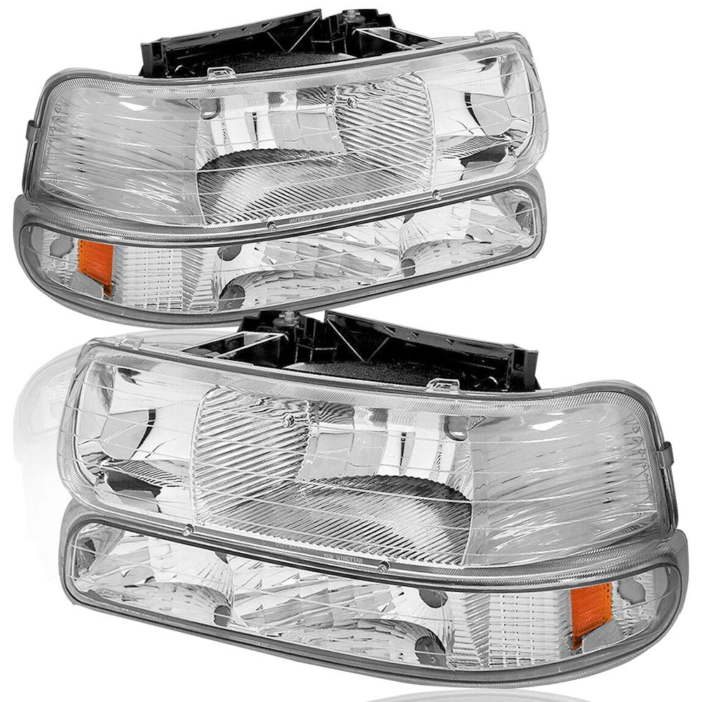 4Pcs Headlights Assembly Compatible for Chevy 1999-2002 Silverado 1500 2500//Compatible for Chevy 01-02 Silverado 1500HD 2500HD 3500HD //2000-2006 Tahoe Suburban Headlamp /& Side Signal Marker Lamps