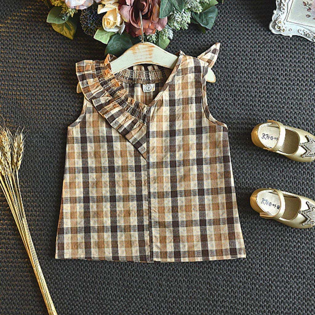 Kids Baby Girl Clothing Set,Toddler Kids Baby Girls Outfits Clothes Bowknot Vest Tops+Plaid Shorts Pants Set for 2-7 Years Old