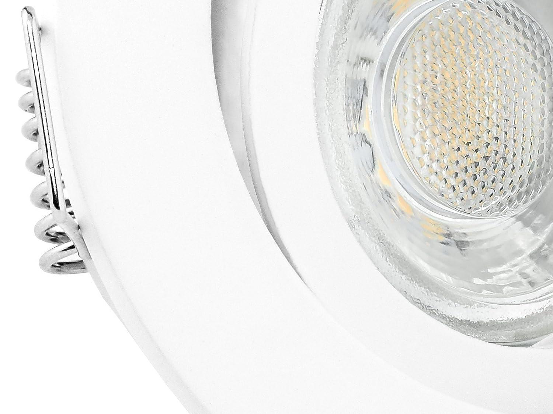 10er Set LED Decken Einbauleuchte rund schwenkbar Edelstahl Optik Fassung Decken Einbauspot mit LED 6W GU10 warmwei/ß inkl