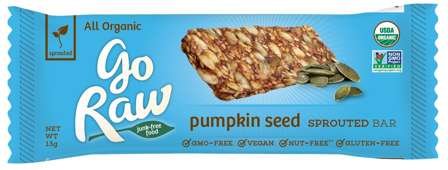 Go Raw Organic Superfood Sprouted Bar, Pumpkin Seed (case of 10 small bars)