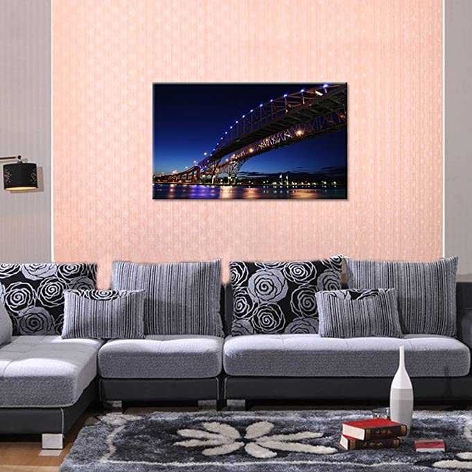 Amazon.com: Landscape Canvas Wall Art, Blue Water Bridge Print on ...
