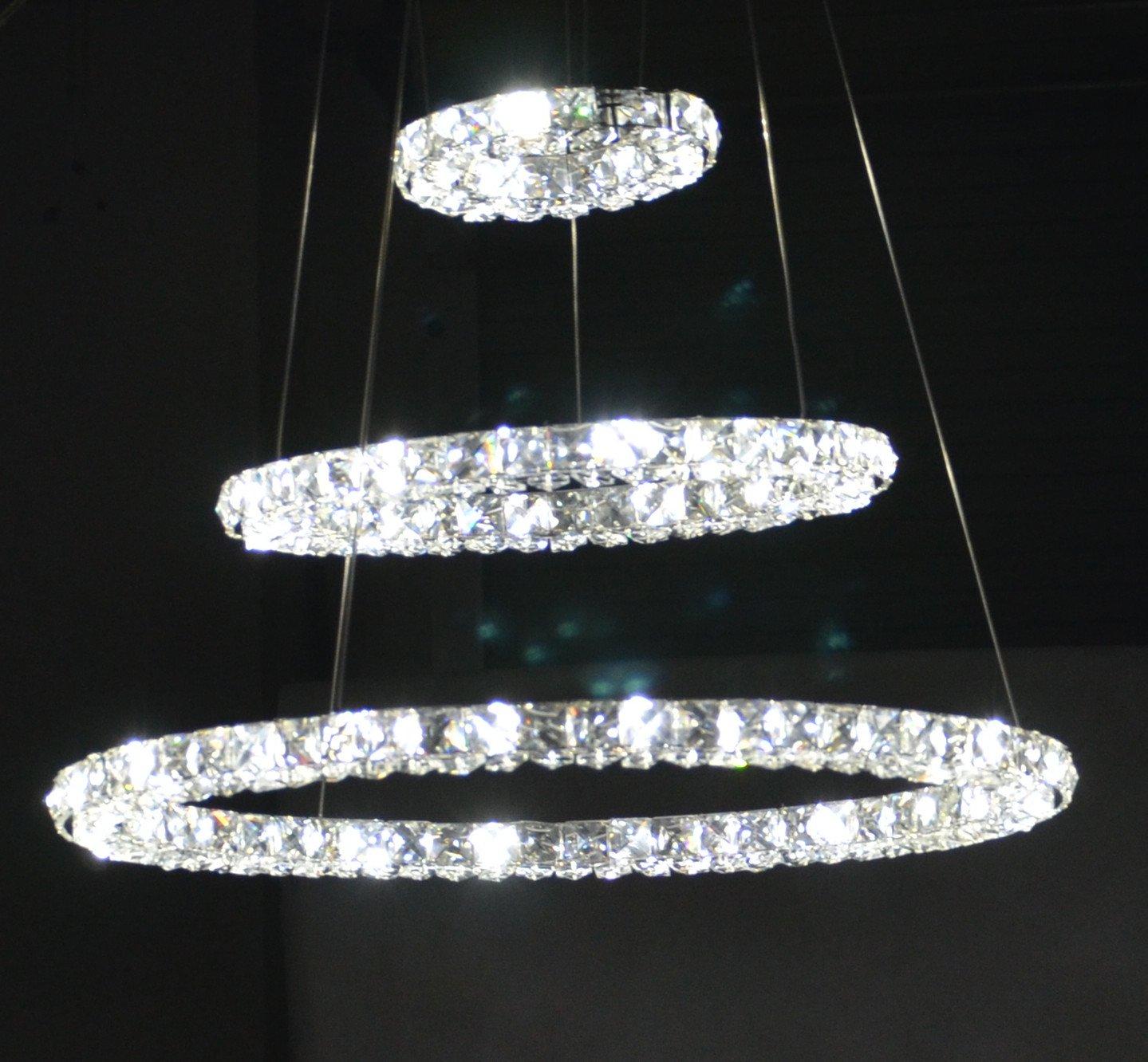 Modern Simple Stylish K Crystal Chandelier Ceiling Light Fixture Living Room Led Lighting Three Ring Random Variation D Cm V With