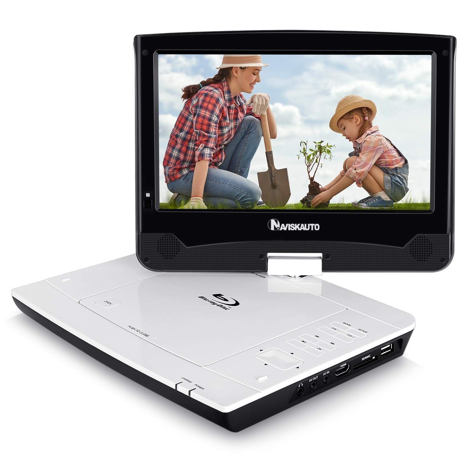 10.1'' Portable Blu Ray DVD Player Support HDMI Output, 1080P Video, Sync Screen, AV Out & in, Last Memory, Dolby Audio, USB SD - NAVISKAUTO