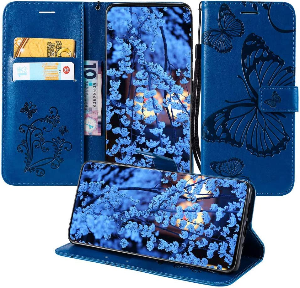 JZ X Power2 Wallet Cases [3D Printing Series ][Embossed Butterfly] PU Leater Wallet Phone Case Flip Cover for LG K10 Power/X Power 2 / Fiesta 2 / X Charge/Fiesta LTE - Blue