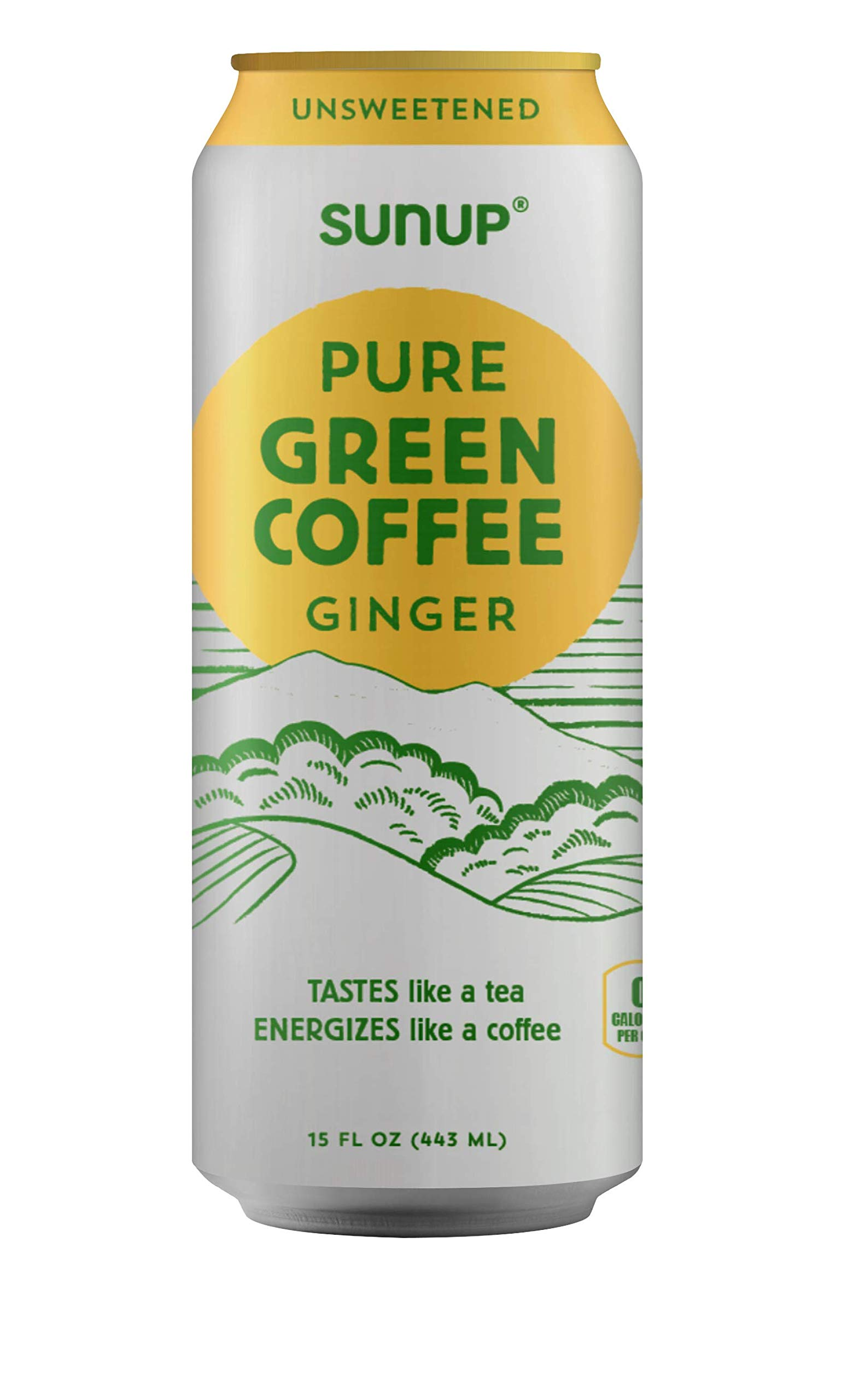 Sunup Pure Green Coffee, Unsweetened Ginger, Made Smooth & Strong From Raw ''Green'' Coffee Beans, Naturally High Energy & Antioxidants, 12 Pack