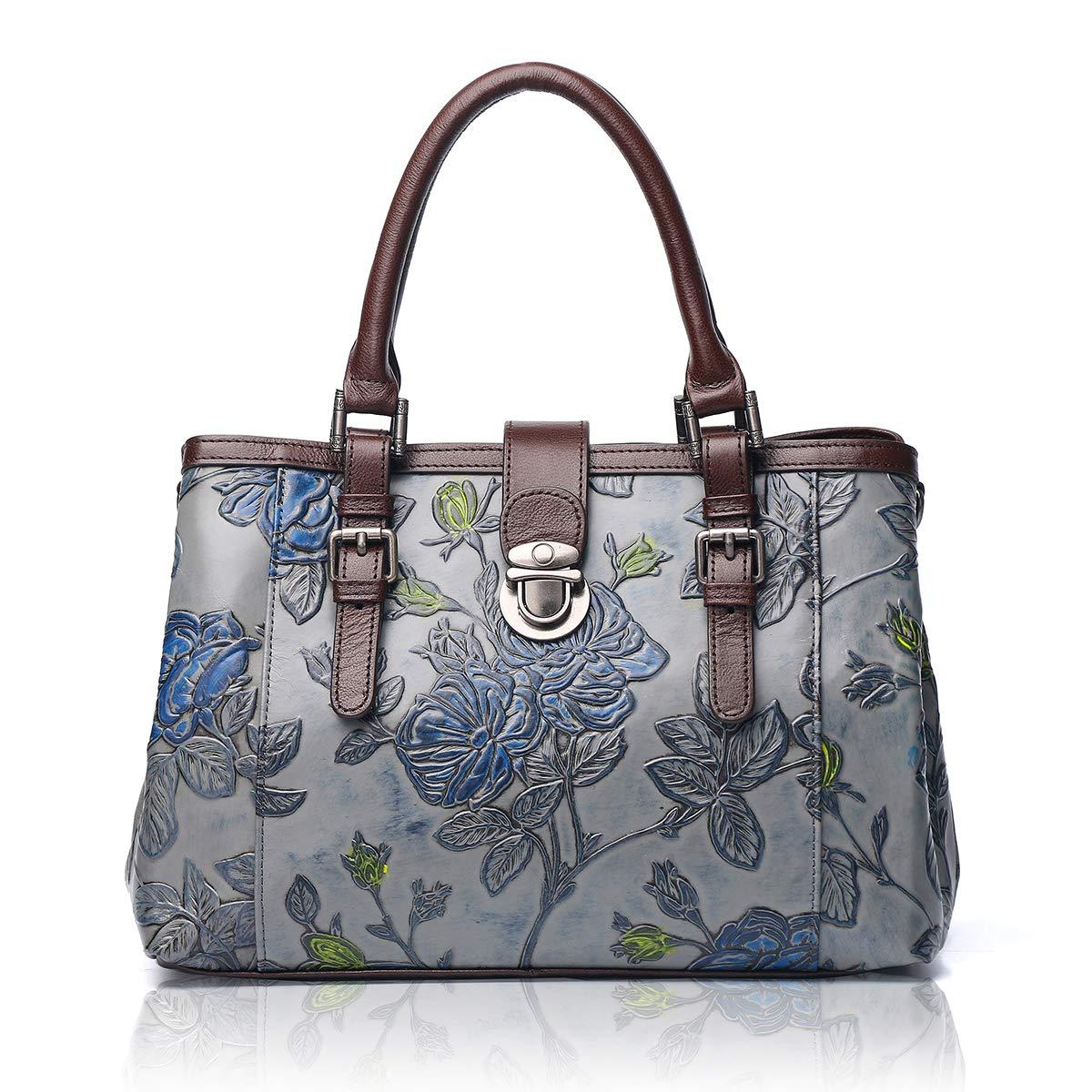 APHISON Designer Unique Embossed Floral Cowhide Leather Tote Style Ladies Top Handle Bags Handbags C817 Gray