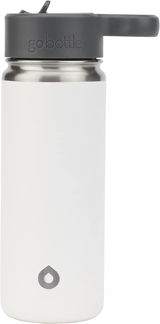Go Bottle Vacuum Insulated Stainless Steel Hot /& Cold Sipper Bottle 18 Oz White