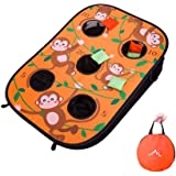 Himal Collapsible Portable 5 Holes Cornhole Game Cornhole Set Bounce Bean Bag Toss Game with 10 Bean Bags,Tic Tac Toe Game Do