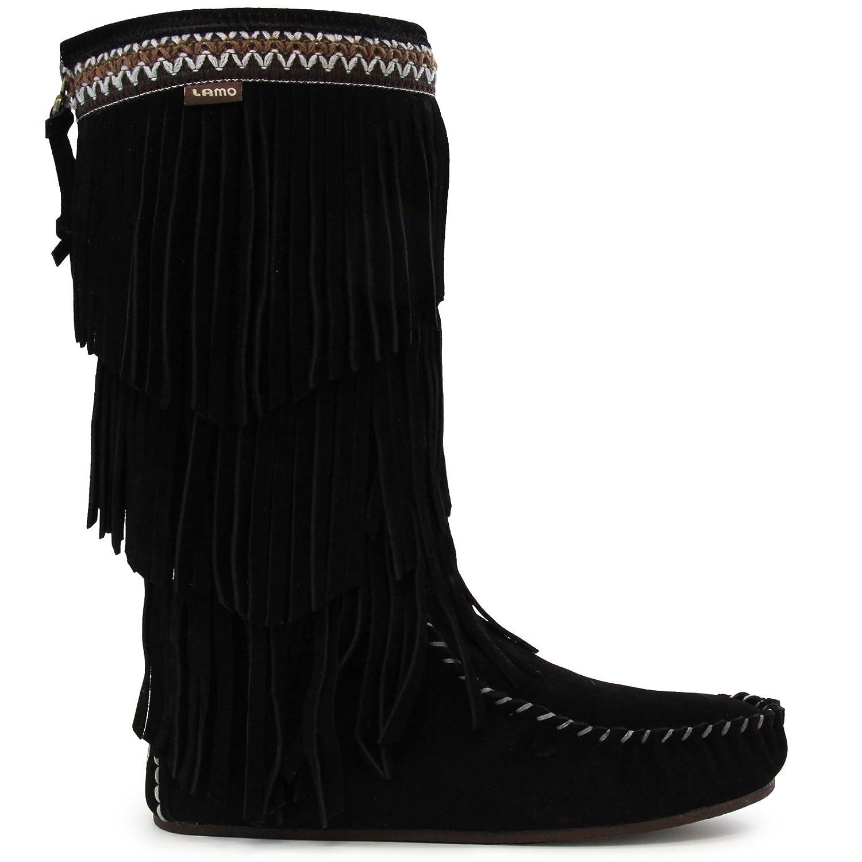 Lamo Women's Virginia Fringe Boot, Slouch Boots Calf -Chestnut B06XJL165V 7 B(M) US|Black