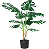 "CROSOFMI Artificial Monstera Deliciosa Plant 37"" Fake Tropical Palm Tree, Perfect Faux Swiss Cheese Plants in Pot for Indoor"