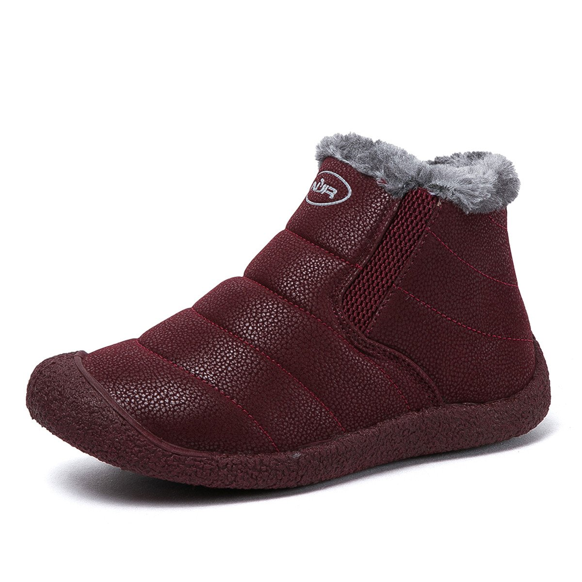 Gracosy Snow Boots, Winter Outdoor Slip On Ankle Snow Booties With Fur Lined, Unisex B075YWZXTL Tag 41|Wine Red