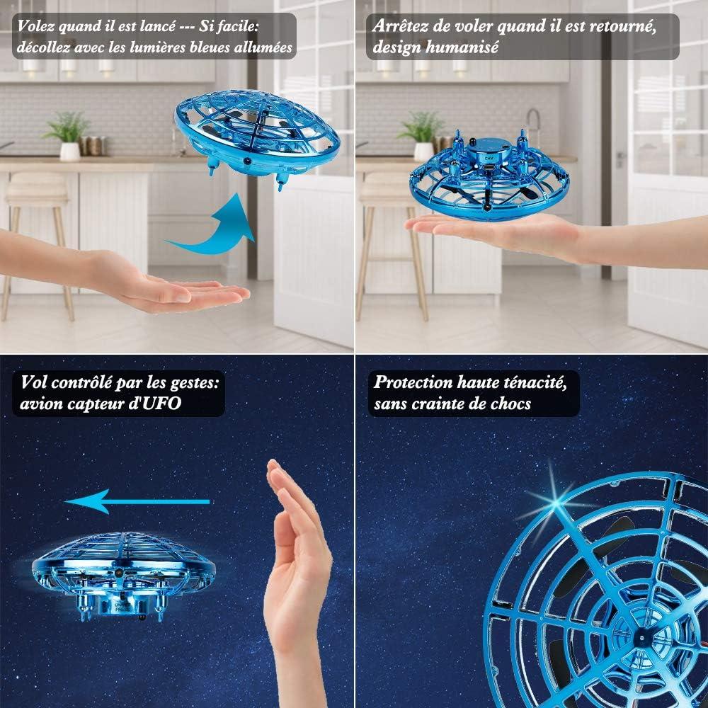 infinitoo Mini Dr/ône UFO dr/ône USB rechargebale pour Enfants et Adultes Mini Quadcopter Drone de Poche Mouvement Main contr/ôl/ée Drone Flying Jouets