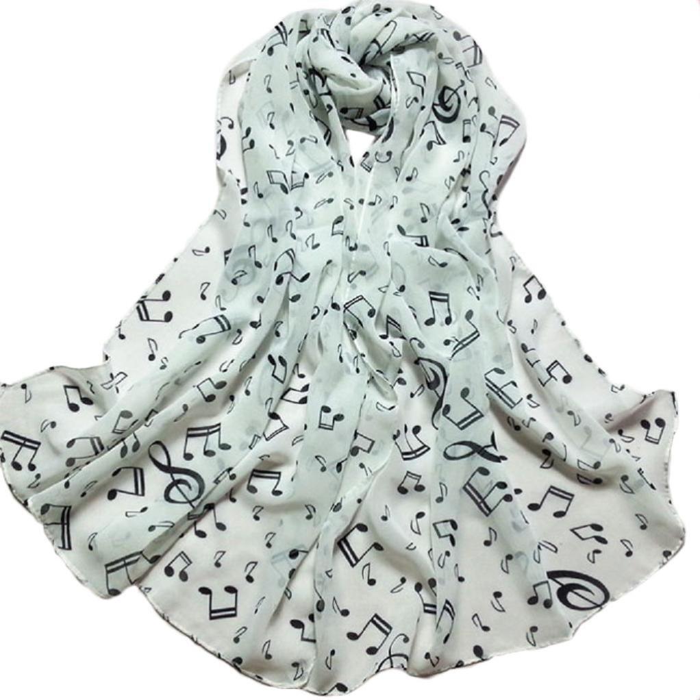 Echarpes et foulards Amlaiworld Femmes Femmes en Mousseline de Soie Imprimé  Note de Musique écharpe Longue de Soie foulard Châle Écharpes de silencieux  ... d37471e7f59