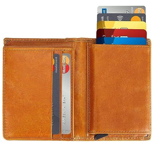 a33f435853a6 Mens Genuine Leather Wallet, Modoker Bifold Smart Wallet Anti-Theft RFID  Blocking Pop Up Card Holder Wallet