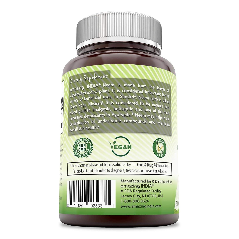 Amazing India Neem (Made with Organic Neem Leaf) 500 mg 120 Veggie Capsules  (Non-GMO) Raw,