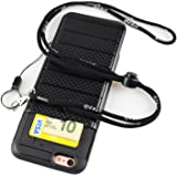 iPhone 6 Case with Strap - Wear Lanyards for Around the Neck with Lanyard Hole - Hidden Back ID Card Slot Slider - Protective Credit Card Holder (iPhone 6s 4.7 Inch Black)