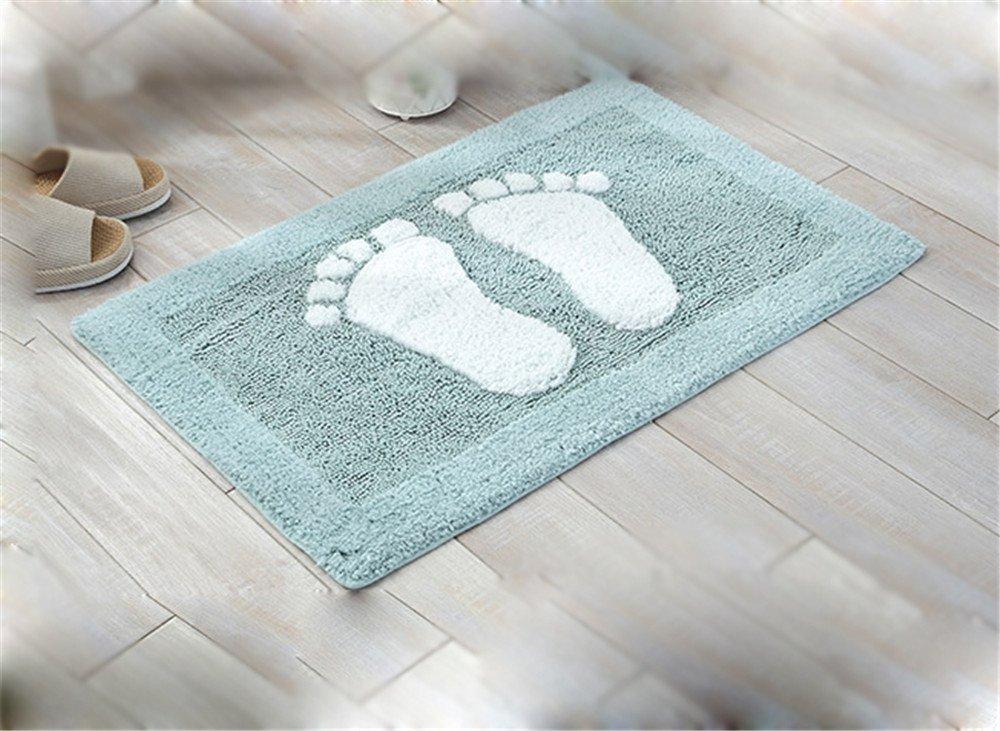 USIX Indoor Machine Washable Hotel-Spa Tub-Shower Bath Towel Mat Cute Small Feet Chenille Shag Area Rug Living Room Carpet Bedroom Rug Floor Mat Dining Room Carpets Blue 50cm x 80cm