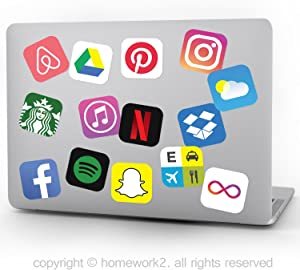 App Stickers, Social Media Stickers for Laptop and Anywhere, Vinyl Decals, UV Protected & Waterproof