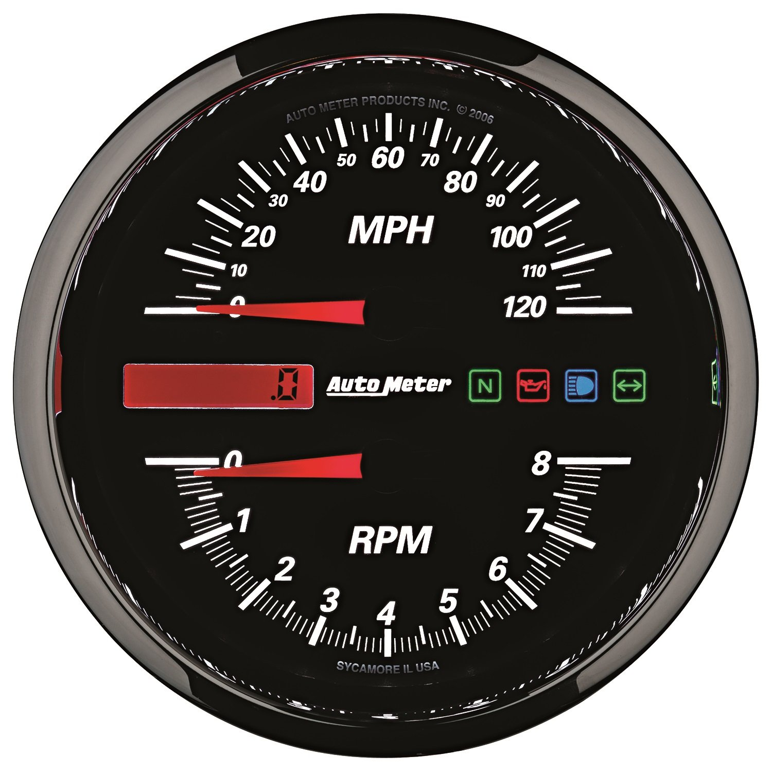 Amazon.com: AutoMeter 19466 Pro-Cycle Tach/Speedo Kit 4-1/2 in. Black Dial  Face Fluorescent Red Pointer White LED Lighting Air Core 8K RPM/120 MPH Pro- Cycle ...
