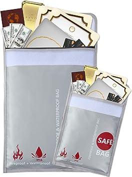documentos joyas y pasaporte resistente al fuego resistente al fuego Bolsa de documentos ign/ífuga de 15 x 11 pulgadas almacenamiento seguro para dinero con revestimiento de silicona