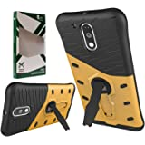 DMG Sniper Dual Layer Hybrid Back Cover Kickstand Case for Motorola Moto G4 Plus  (Gold)