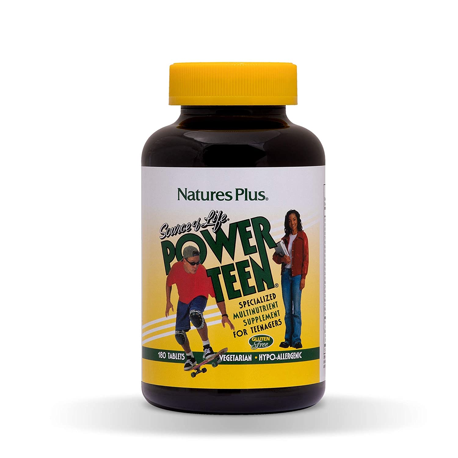 NaturesPlus Source of Life Power Teen - 180 Vegetarian Tablets - Teen Multivitamin with Minerals & Whole Foods for Mental Focus, Energy Booster - Gluten-Free - 90 Servings