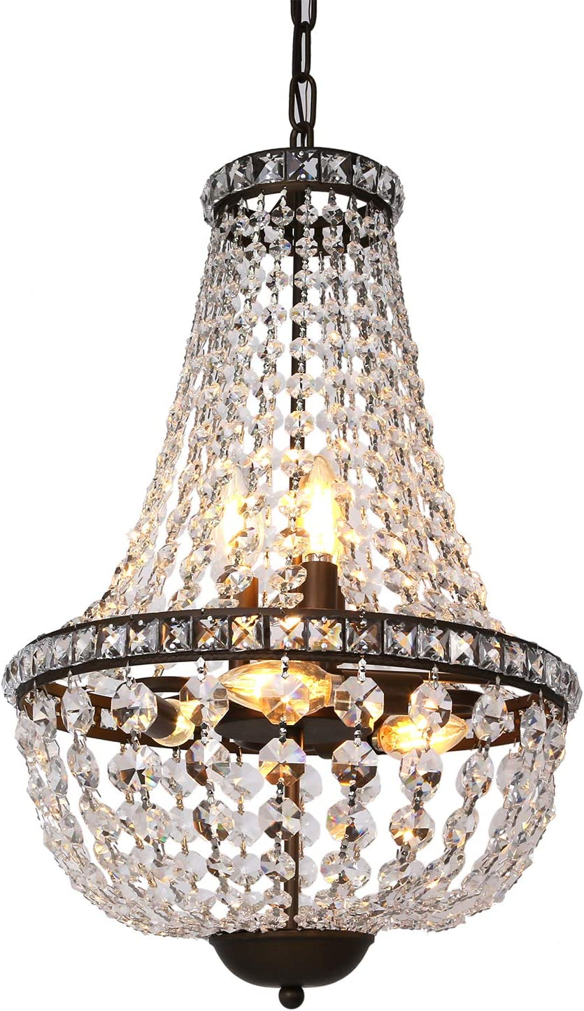6-Light Crystal Chandelier Pendant Light, 13.5 inch French Empire Ceiling Light Fixture Farmhouse Antique Bronze for Dining Room, Living Room and Bedroom