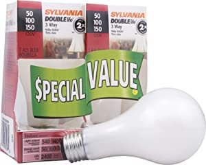 Sylvania Home Lighting 18167 Incandescnet 3-Way Bulb, A21-50W/100W/150W-2850K, Double Life, Soft White Finish, Medium Base, Pack of 2 (package may vary)