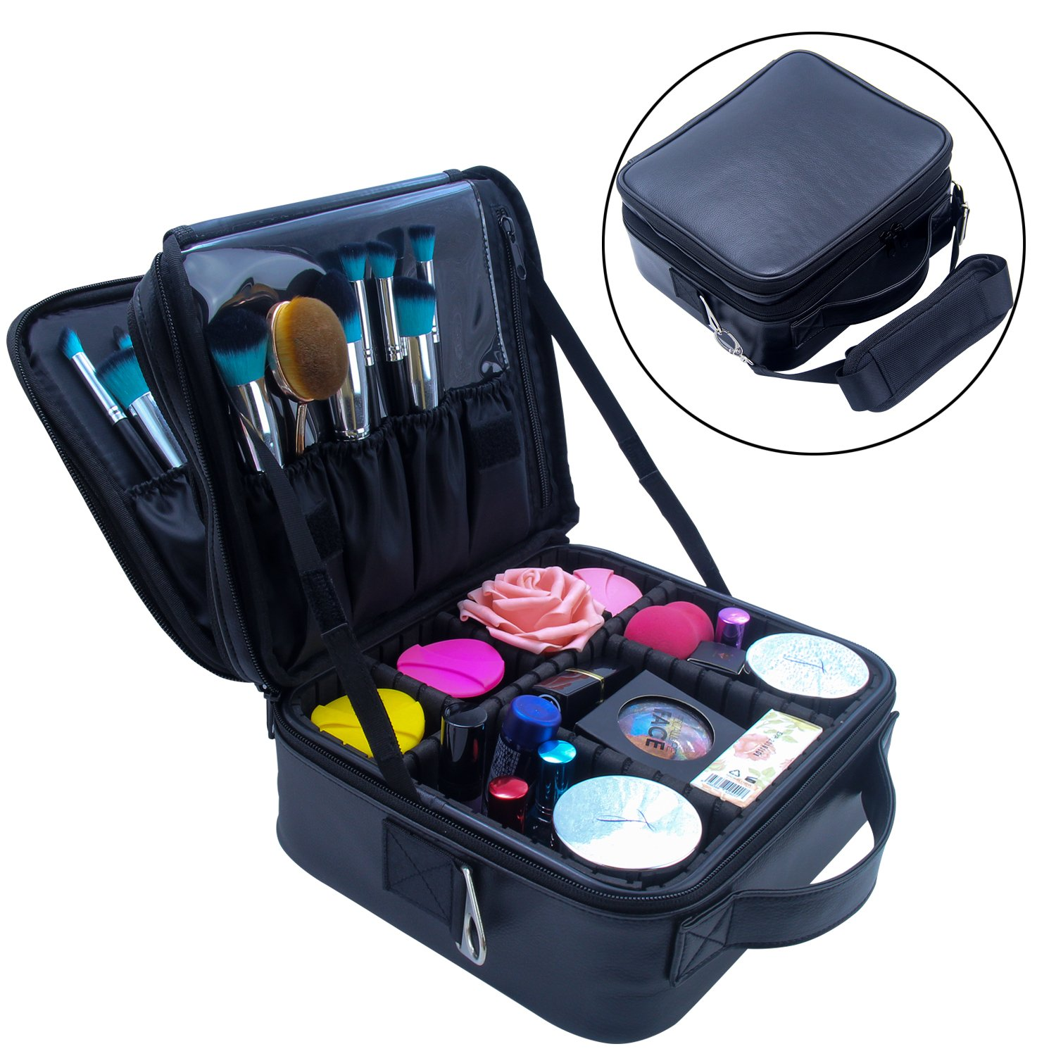 Travel Makeup Bag Makeup Train Case 2 Layer Premium PU Leather Cosmetic Makeup Brush Organizer with Mirror Portable Artist Storage Bag Toiletry Bag Perfect Gift (Black)
