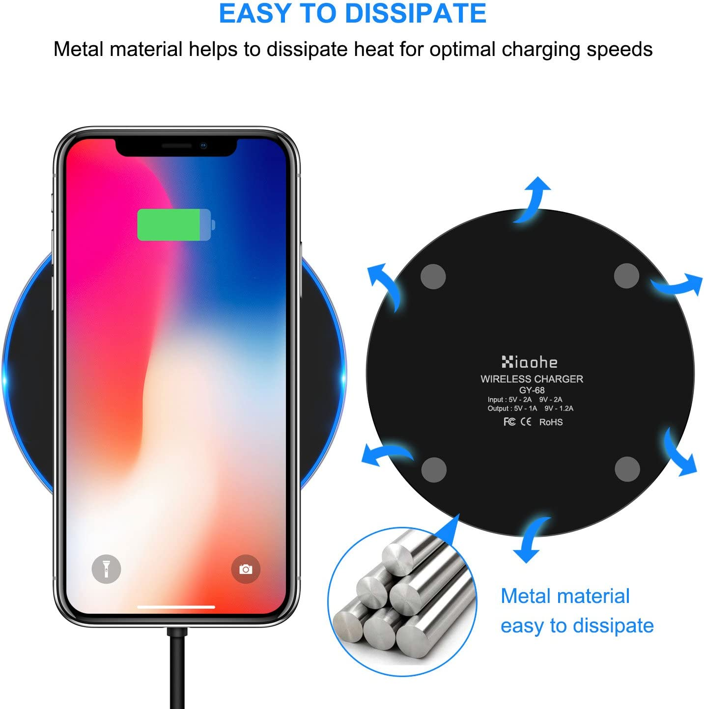 Xiaohe Qi Wireless Charger 7.5W Compatible with iPhone 11//11 Pro//11 Pro Max//8//8 Plus//X//Xs//Xs Max//XR Black 10W Fast Wireless Charging Pad Compatible with Samsung Galaxy S9//S9+//S8//S8+//Note 8