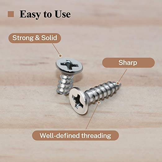 304 Self Tapping Screws Powlankou 200 Pieces #6 X 1//2 Phillips Countersunk Flat Head Wood Screws Stainless Steel 18-8